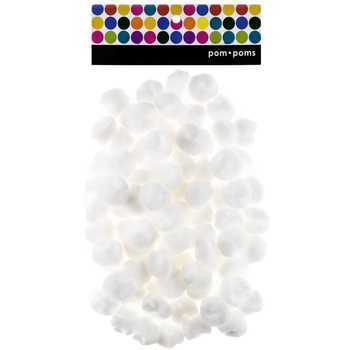Pop Poms, 1 inch, White, 80 Count