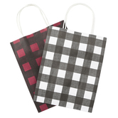 the Paper Studio, Sacks-N-Things Buffalo Check Gift Bags, 10 x 8 x 4 inches, 6 Each of 2 Designs