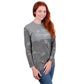 Rooted Soul, Be Strong and Courageous, Women's Long Sleeve Front Yoke T-Shirt, Soft Camo and Gray, XS-2XL
