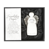 Carson Home Accents, Friendship Angel with Heart Figurine, Resin, Gray, 3 x 2 x 2 inches