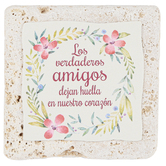 Product Concept Manufacturing, Amigos Spanish Tabletop Plaque, Natural Stone, 4 x 4 inches
