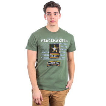 Red Letter 9, Matthew 5:9, Peacemakers Army Short Sleeved T-Shirt, Military Green, M-3XL