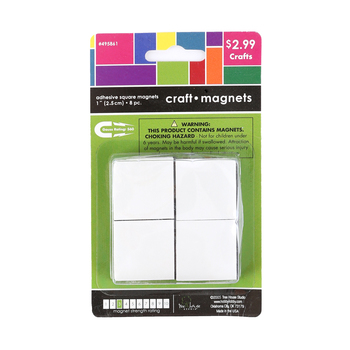 Tree House Studio, Adhesive Magnetic Squares, Black, 1 inch, 8 Count