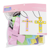 Easter Foam Cross Necklace Kit, Assorted Colors, 4 7/8 x 3 5/8 Inches, 24 Pieces