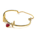 Faithful and Fabulous, Heartbeat Wire Bracelet with Heart Charm, Brass and Glass, Gold and Red