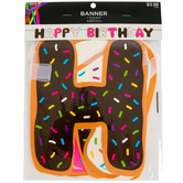 Donut Happy Birthday Banner, Multi-Colored, 8 Inches x 9 4/5 Feet