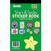 Eureka, Stars & Smiles Sticker Book, 5.75 x 9.5 Inches, Multi-Colored, Book of 536