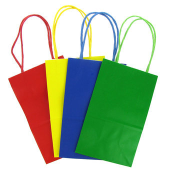 Small Kraft Gift Bags, Primary Colors, 12 count