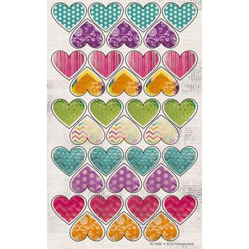 Retro Chic Collection, Heart Shaped Stickers, Multi-Colored, Pack of 175