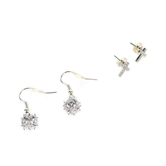 Faithful and Fabulous, Bling Cross and Dangle Earring Set, Brass and Cubic Zirconia, Silver, 2 Pairs