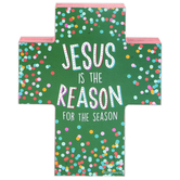Renewing Faith, Jesus Is The Reason for the Season Chunky Cross, Wood, 5 x 6 x 1 inches