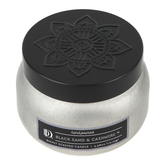 Darsee & David's, Black Sand & Cashmere Candle Tin, Silver and Black, 3.98 ounces