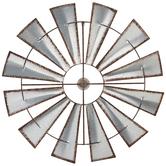 Windmill Blades Wall Decor, Galvanized Metal, Silver, 35 3/8 x 1 inches