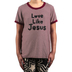 NOTW, Striped Love Like Jesus, Kid's Short Sleeve Shirt, Burgundy and White, Youth X-Small