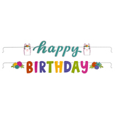 Llama Party Happy Birthday Banner, Multi-Colored, 6 Foot 0.75 Inches, 1 Each