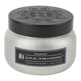 Darsee & Davids, Olive Oil, Thyme & Patchouli Candle Tin, Silver and Black, 4 ounces