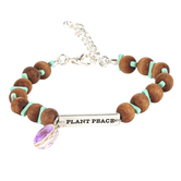 Faith in Bloom, Plant Peace Turquoise and Wood Bead Bracelet, Zinc Alloy, Silver