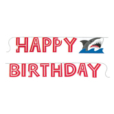 Shark Party Happy Birthday Banner, 6 Foot 1/4 Inch, 1 Each