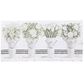 Flowers in Vases Canvas Wall Decor, White and Buffalo Check, 20 x 40 x 1 1/2 inches