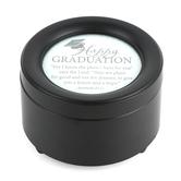 Carson Home Accents, Happy Graduation Round Music Box, Black & White, 2 3/4 x 4 1/2 inches