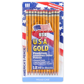 Write Dudes, USA Gold Pre-Sharpened Wood Pencils, #2, Yellow, Pack of 12
