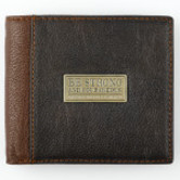 Christian Art Gifts, Be Strong and Courageous Two-Tone Bi-fold Wallet, Genuine Leather, Brown, 4 3/8 x 3 7/8 x 3/4 inches