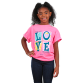 Kerusso, John 13:34 Love Blocks, Kid's Short Sleeve T-shirt, Pink, 3T-YL
