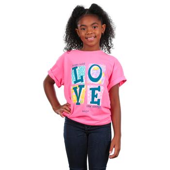 Kerusso, John 13:34 Love Blocks, Kid's Short Sleeve T-shirt, Pink, 3T-YL