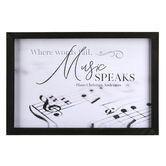 P. Graham Dunn, Music Speaks Wall Plaque, Wood, White and Black, 18 1/2 x 12 1/2 inches