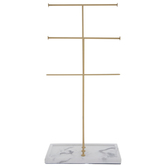 Gadgets And Gizmos, Tiered Jewelry Stand, Marble and Metal, White and Gold, 4 x 8 7/8 x 18 1/2 inches