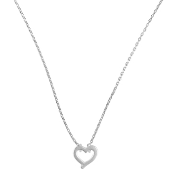 Howard's, Stud Buds, Open Heart Necklace, Metal, Silver, 16 inches