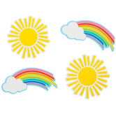Schoolgirl Style, Hello Sunshine Rainbows and Suns Cut-Outs, 5-7 Inches, 36 Pieces