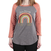Rooted Soul, Jesus Loves Me, Women's 3/4 Sleeve Raglan T-Shirt, Charcoal and Brick, XS-2XL
