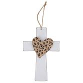 Leopard Print Heart Wood Cross, White, 9 1/4 x 6 1/4 x 5/8 inches