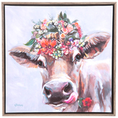 Cow with Flower Headpiece Wall Decor, Canvas and MDF, Gray and Brown, 13 x 13 x 2 inches