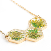 Faith in Bloom, Honeycomb Pendant Necklace, Zinc Alloy, Gold, 18 Inch Chain