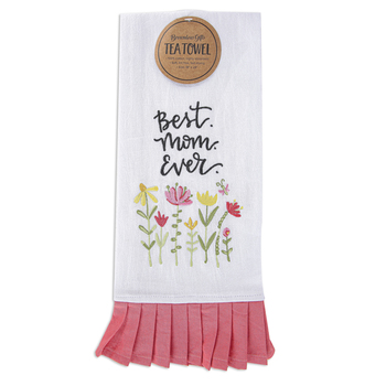 Brownlow Gifts, Best Mom Ever Tea Towel, Cotton, Floral, 18 x 28 inches