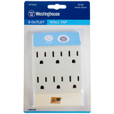 Westinghouse, Six Outlet Wall Tap, White, 1 Each