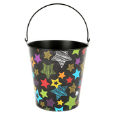 Chalk Talk Collection,  Large Bucket, 8 x 8.75 Inches, Multi-Colored Stripes