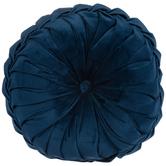 Navy Velvet Round Textured Pillow, Polyester, 15-inch Diameter x 5.37 Inches