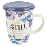 Christian Art Gifts, Psalm 46:10 Be Still & Know Coffee Mug with Lid, Ceramic, 13 ounces