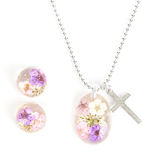 Faith in Bloom, Floral Pendant and Cross Necklace and Earrings Set, Silver, 20 Inch Chain