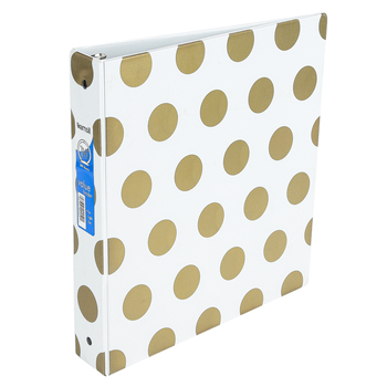 Samsill, Metallic Dot 3-Ring Binder, Assorted Colors, 10 1/2 x 1 1/2 x 11 1/2 inches