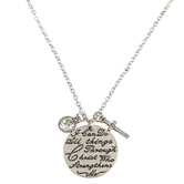 Bella Grace, Philippians 4:13, All Things Pendant Necklace, Zinc Alloy, Silver-tone, 18 inch Chain