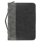 Divinity Boutique, Cross Pattern Bible Cover, Black & Gray, Multiple Sizes Available