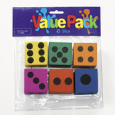 Fun Express, Foam Dice, 1.5 Inches, Assorted, Pack of 6