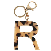 R Letter Keychain, Leopard, 2 3/4 x 2 1/4 Inches