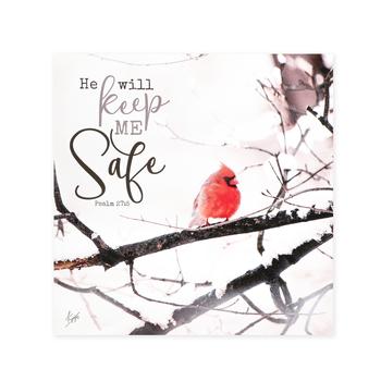 P. Graham Dunn, Psalm 27:5 He Will Keep Me Safe Cardinal Wall Art, MDF, 12 x 12 inches