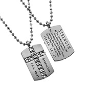 Spirit & Truth, Isaiah 40:31 Strength Chain Cross Necklace, Stainless Steel, 24 inches