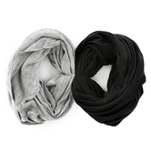 Fashion Tid Bits, Wide Elastic Multi Use Headbands, Black & Gray, 1 Each of 2 Colors